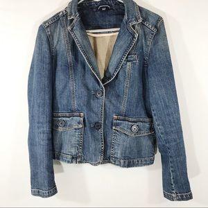 Gap Jean Jacket, Pink Stitching, Size 4